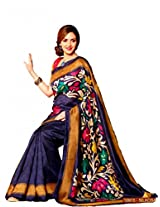 Roop Kashish Purple Art Bhagalpur Silk Saree With Unstiched Blouse 10915 (Rkvi10915)