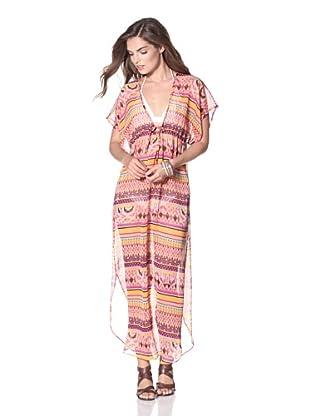 JOSA Tulum Women's Printed Caftan with Tie (Thai Pink)