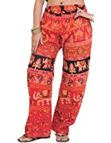Exotic India Casual Trousers from Pilkhuwa with Printed Elephants - Color TomatoGarment Size Free Size