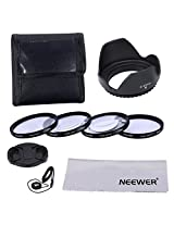 Neewer 52MM Professional Close-up Macro Accessory Kit for NIKON D7100 D7000 D5300 D5200 D5100 D5000 D3300 D3200 D3100 D3000 D90 D80 DSLR Cameras - Includes Macro Close-Up Set (+1, +2, +4, +10)+ Filter Carrying Pouch + Tulip Flower Lens Hood + Center Pinch Lens Cap with Cap Keeper Leash + Microfiber Cleaning Cloth