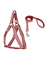 Imported Red Stripes Dog Puppy Harness Leash Lead Walking Control Vest Strap Size L