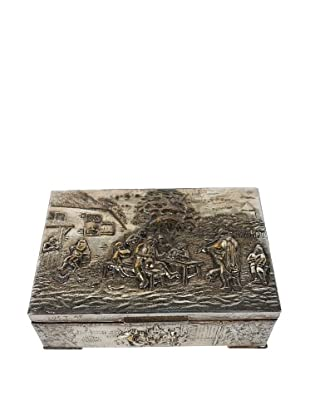 1940's Punched Tin Trinket Box, Silver