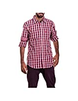 Urban Polo Club Red Multicolored Shirt Large - Full Sleeve