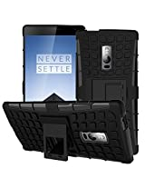 Kohinshitsu Rugged Dual Layer Kickstand Hybrid Warrior Case Back Cover for OnePlus Two New 2015 OnePlus 2 / One Plus Two / OPT / 1+2 / One Plus 2 Smartphone With Kick Stand - Black Color
