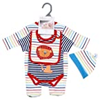 Pitter Patter Jumpsuit, Onesie, Cap & Bib Set - Multicolor