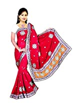 Sehgall Saree Indian Bollywood Designer Ethnic Professional Faux Georgette Fancy Pallu Saree - Red