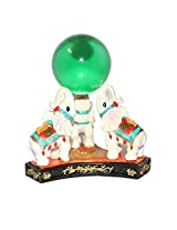 Varanasi Enterprises Feng Shui Colorful Elephants With Crystal Ball 11.5x11.5x11.5 cm