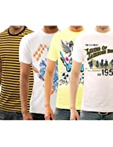 Funktees 100% Pure Cotton Round Neck L Size T-shirt - Pack of 4