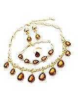 Gold Plated Austrian Diamonds Champagne Waterdrop Jewellery set by Beora