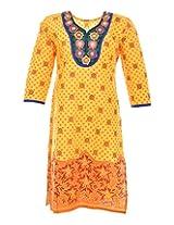 2Dots Women's Cotton Regular Fit Kurti (Yellow, 38 Inches)