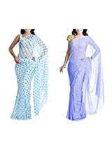 MemSahiba Women Semi-Chiffon Saree set of 2 (MS-1086-1046)