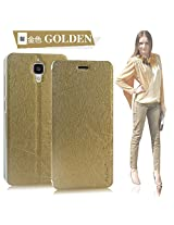 Pudini® Yusi Rain Series Leather Flip Cover Stand Case For Xiaomi MI4 - Champagne Gold With Free Screen Guard