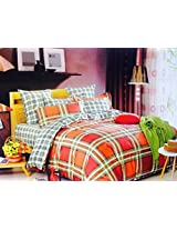 CnS MULTI COLOUR CHECK BEDSHEET WITH PILLOW COVERS, KING SIZE , 100% COTTON