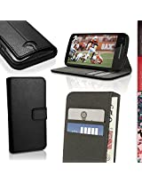 iGadgitz Premium Wallet Flip Black PU Leather Case Cover for Motorola Moto E 2nd Generation 2015 XT1524 With Card Slots + Multi-Angle Viewing stand + Screen Protector