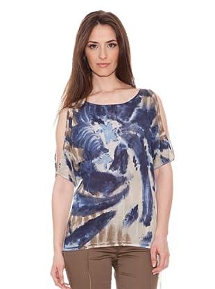Diktons Blusa Estampada (Azul / Marrón)