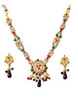 14Fashions Red Green Copper Necklace Set For Women_1100824