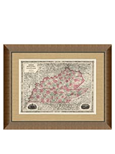 """Johnson and Ward Antique Map of Kentucky & Tennessee, 1860's, 28"""" x 34"""""""