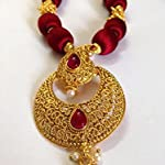 Maroon and gold bead necklace with golden mango pendant and earrings