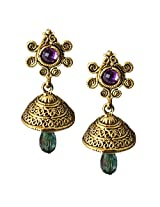 Beingwomen Elegant Purple::Green Gold Plated Stone Fashion Alloy Jhumki Earring