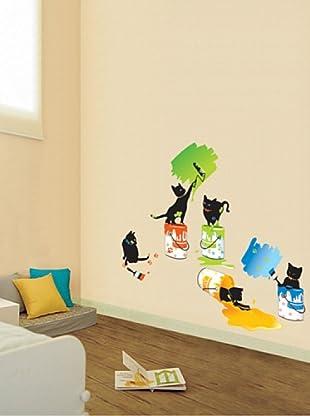 Vinilo Adhesivos gatitos y pintura Multicolores