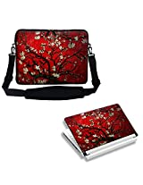 Meffort Inc 17 17.3 inch Laptop Carrying Sleeve Bag Case with Hidden Handle & Adjustable Shoulder Strap with Matching Skin Sticker Deal - Vincent van Gogh Cherry Blossoming
