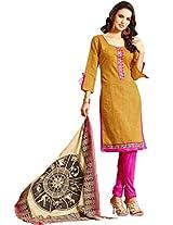 Viva N Diva Yellow Color Chanderi Cotton Suit.
