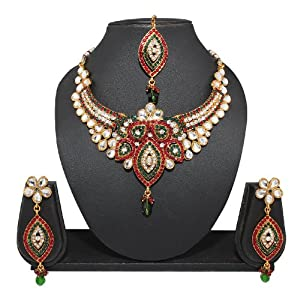 Red And Green Rich Kundan Bridal Necklace Sets By Variation