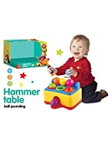 Mini Hammer Table Ball Pounding Toy Bench Play Set With 6 Balls & Funny Sounds Battery Operated Hammer - For Kids 3+ Years (Random Color)
