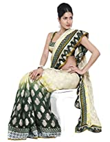 Beige Brown and Hunter Green Party and Festival Embroidered Saree