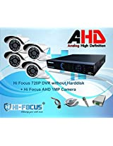 Hi Focus 8 CH 720P HDMI DVR, 4 Pc 1.0 MP Bullet CCTV AHD Security Camera System