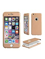 Tarkan Luxury Slim 360 degree Full Body protective case cover with Tempered Glass for Apple iPhone 6 4.7 inch (Champagne Gold)