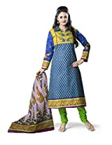 Rajnandini Women's Green & Blue colour pure cotton Printed Unstitched salwar suit Dress Material (Free Size)