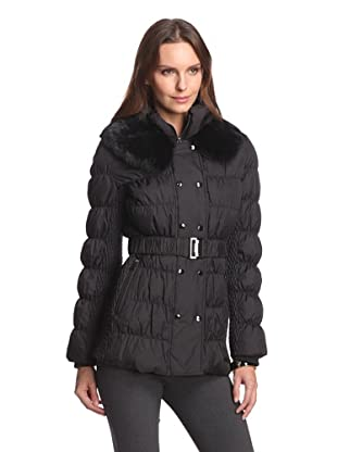 Via Spiga Women's Double Breasted Down Jacket with Fur Collar (Black)