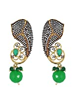 Be You Striking Green Colour Diamond Look Rhodium Plated Brass Dangle Earring for Women