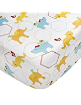 Kidsline Who's At The Zoo Fitted Sheet, Icon Print