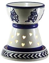 Brahmz Aroma Oil Burner - Electric - Big Dholak - Ivory Blue - Handpainted