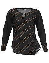 Go Lucknow Women's Cotton Regular Fit Kurti (GL-AM-197, Black, Large)