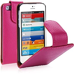 i-Blason Genuine Leather Flip Case for Apple New iPhone 5S / 5 - Pink
