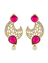 Fashionable Gold Plated Pink Earrings for Women ER-1460