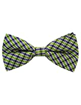 Scott Allan Men's 100% Silk Checkered Plaid Bow Tie - Green/Navy Blue