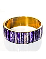 Devbeads Designer Blue Brass Bangle For Women