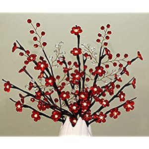 Red Crystal Flowers Branch Lights with Beaded Sprays