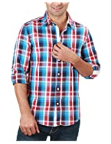 REIGN OF FASHION Men's Casual Shirt (500035, Bluish Checks, 3X-Large)