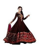 Livaaz Womens Georgette Anarkali Unstitched Dress Material (Sf100896 _Brown)