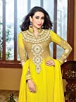 Faux Georget Embroiderd Patch Work Yellow Anarkali Suits - Bfmf36008