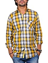 Nation Polo Club Men's Checkered Slim Fit Casual Yellow Color Shirt L