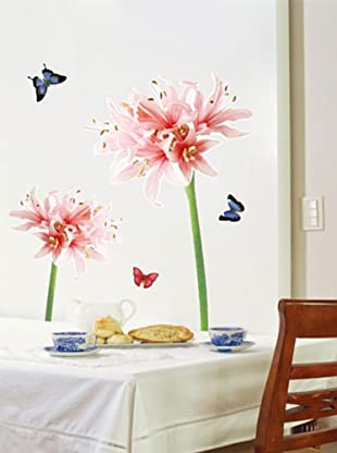 Ambiance Live Vinilo Adhesivo Pink And White Lily Flowers Wall Decals
