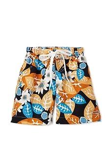 Azul Swimwear Boy's Leaves Boardshorts (Orange)