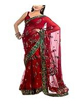 Shree Balaji Syntheticas Women's Net Lace Saree (Multi-Coloured)