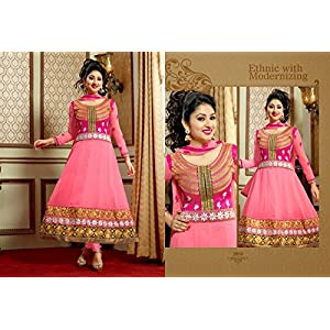 Disha Parmar Georgette Embroidery Work Pink Semi Stitched Anarkali Suit - 2004